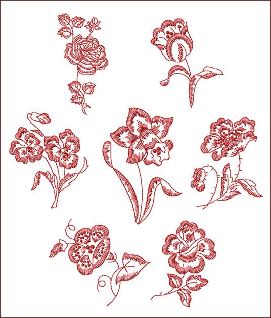 redwork floral