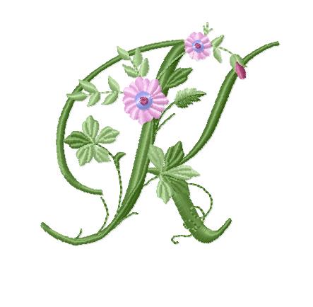 K From Elegant Floral Initials