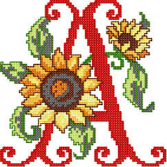 A from Sunflower Alphabet Cross Stitch