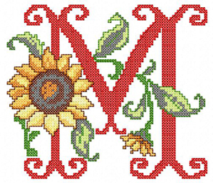 M from Sunflower Alphabet Cross Stitch