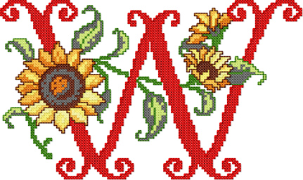 W from Sunflower Alphabet Cross Stitch