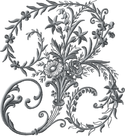 B from Victorian Whitework Font