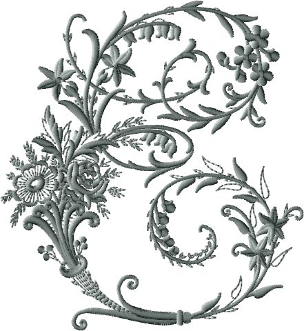 E from Victorian Whitework Font
