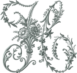 H from Victorian Whitework Font