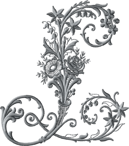L from Victorian Whitework Font