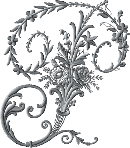 P from Victorian Whitework Font