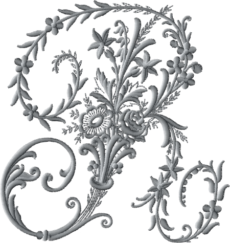 R from Victorian Whitework Font