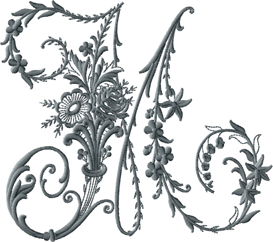 M from Victorian Whitework Font