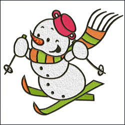 Skiing Cheerful Snowman