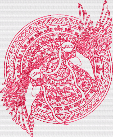 Two-Birds Mandala Embroidery Designs