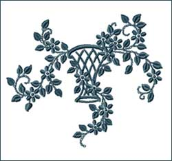 Vase Tracery Embroidery Design