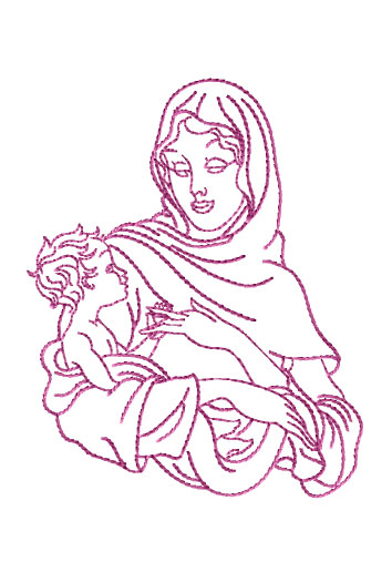 Virgin Mary Holding Baby Jesus Embroidery Designs