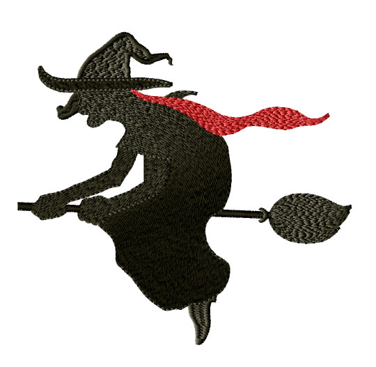 Witch on the Broom Embroidery Design