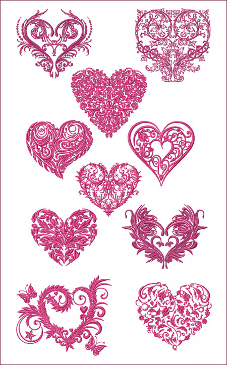 10 Valentine Hearts machine embroidery designs