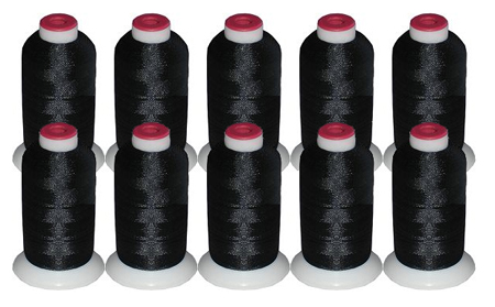 10 Cones Polyester Thread Kit -  BLACK 40wt