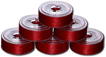 24 L Pre-Wound Plastic Sided Bobbins - Christmas Red (P533)