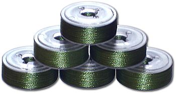 72 L Pre-Wound Plastic Sided Bobbins - Parrot Green (P752)