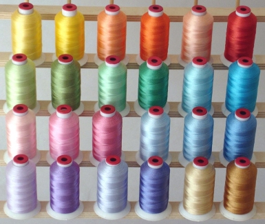 PASTEL machine embroidery thread set - 24 cones, polyester.