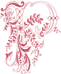 P from Enlaced Romance Initials
