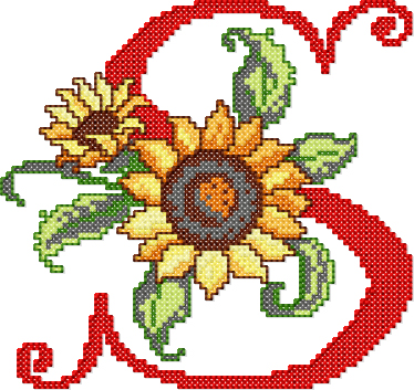 S from Sunflower Alphabet Cross Stitch