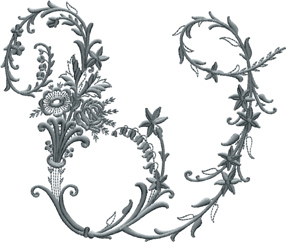 W from Victorian Whitework Font
