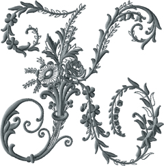 K from Victorian Whitework Font