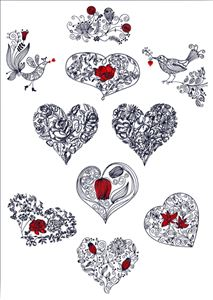 Valentines Hearts-N-Birds