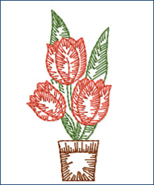 Growing Tulips embroidery design