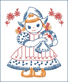 Plate-cleaning Dutch Girl  embroidery design