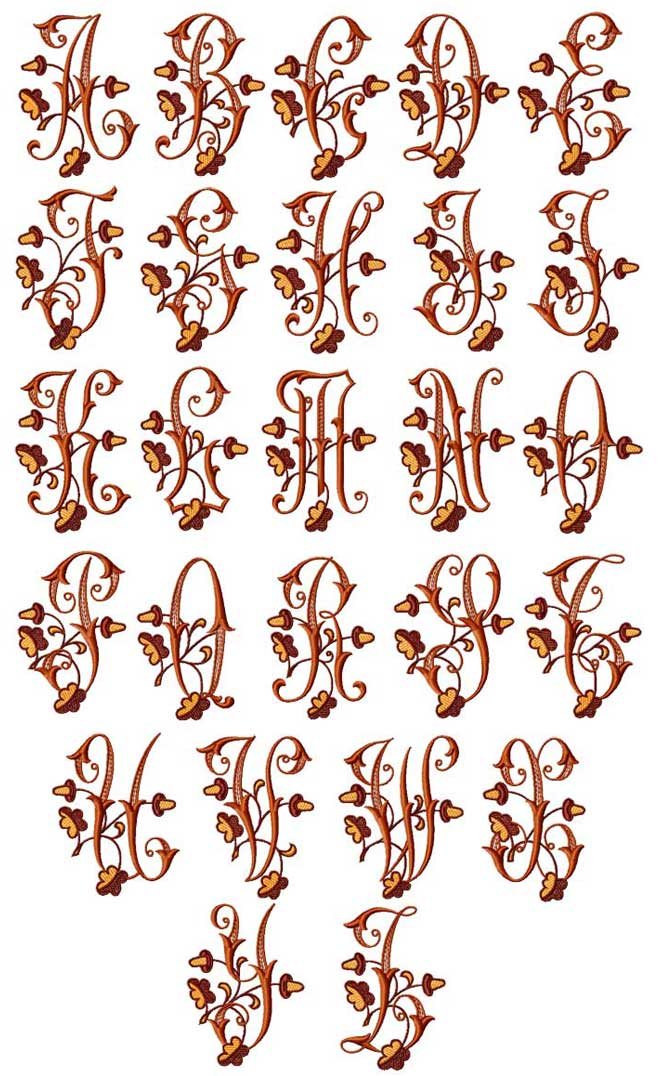 Acorns Alphabet machine embroidery designs