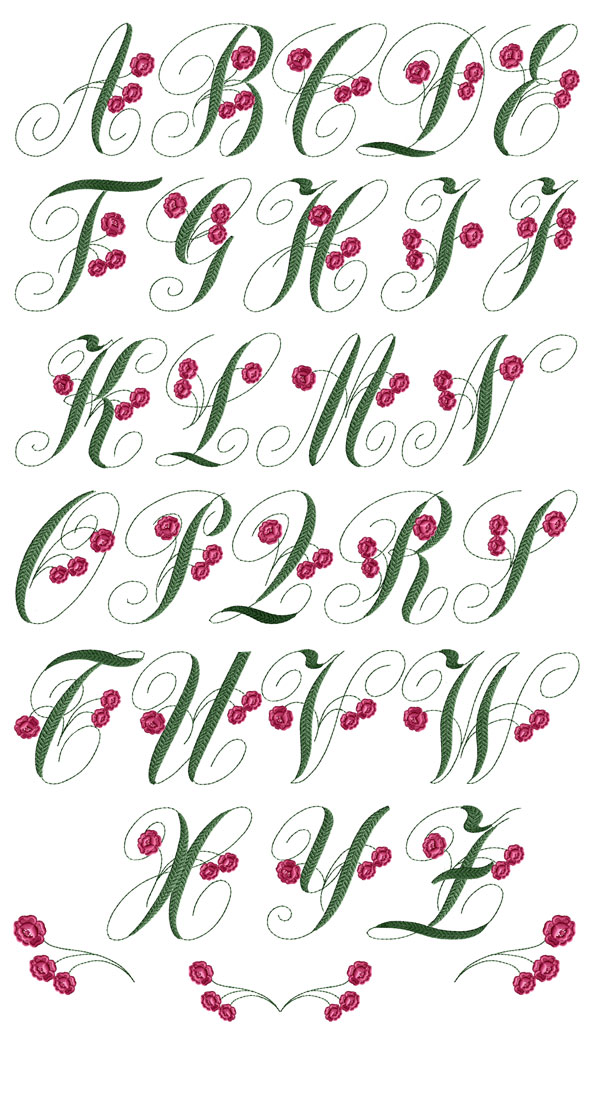 Charlotte Rose Font machine embroidery designs