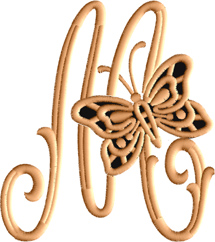 M from Cutwork Butterfly Font
