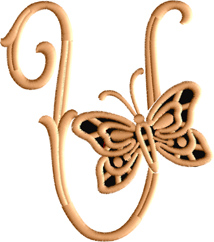 U from Cutwork Butterfly Font