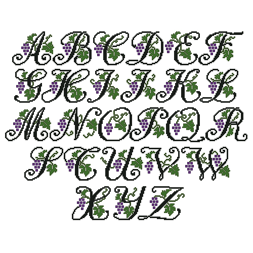 Grapes Alphabet in Cross Stitch Small Letters