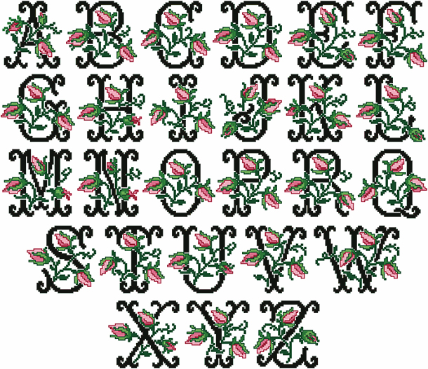 Old-fashioned Charm Alphabet in Cross Stitch