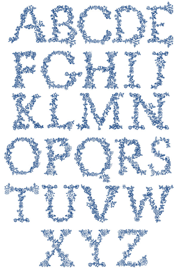 Redwork Alphabet machine embroidery designs