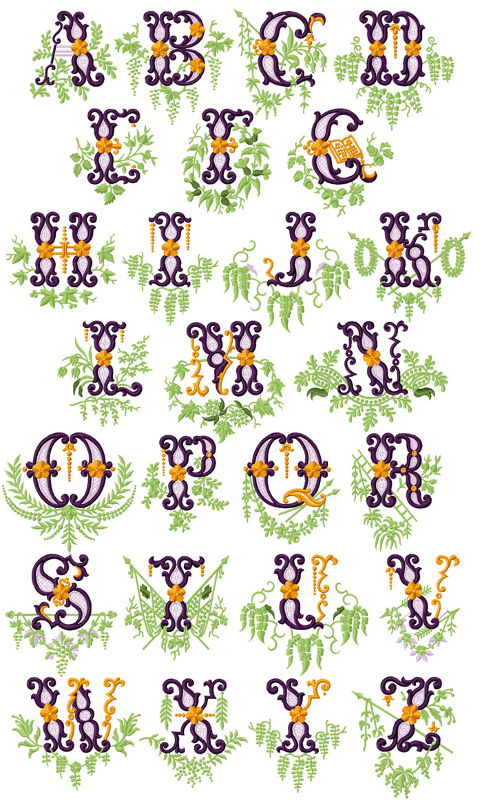 Vintage Garden Alphabet  machine embroidery designs