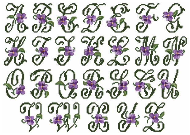 violets alphabet in cross stitch small letters