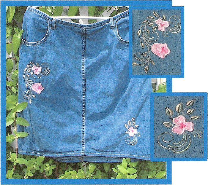Floral appliqued denim skirt