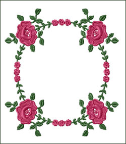 Roses Wreath Embroidery Design