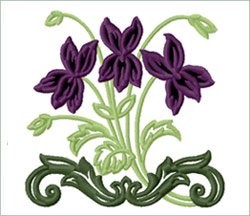 Royal Violets Bouquet embroidery design