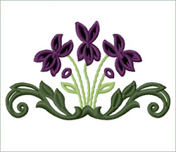 Violets Wall Mural embroidery design