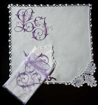 Project idea with Lace Corner  Handkerchief- Embroidery Blanks
